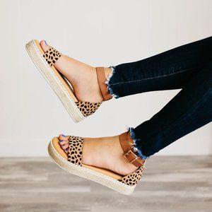 NEW Cheetah Open Toe Ankle Strap Espadrille Sandal